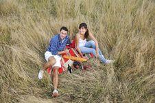 Free Happy Couple Enjoying Countryside Picnic Stock Image - 17029491