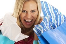 Free Young Woman With Shopping Bags Royalty Free Stock Photography - 17029577