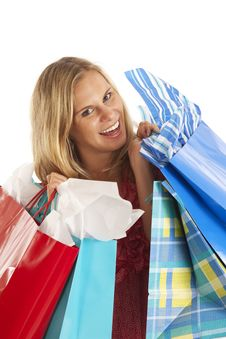 Free Young Woman With Shopping Bags Stock Photo - 17029600