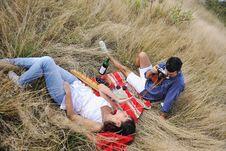 Free Happy Couple Enjoying Countryside Picnic Stock Images - 17029714