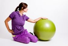 Free Sportswoman With A Fitness Ball Stock Images - 17029734