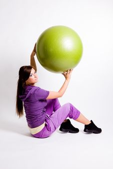 Free Sportswoman With A Fitness Ball Stock Photo - 17029760