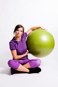 Free Sportswoman With A Fitness Ball Royalty Free Stock Photography - 17029787