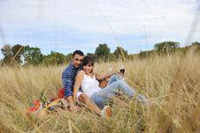 Free Happy Couple Enjoying Countryside Picnic Stock Photography - 17029792
