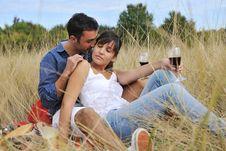 Free Happy Couple Enjoying Countryside Picnic Stock Images - 17029854