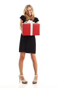 Free Young Woman With Red Present Stock Image - 17029901