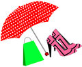 Free Pink Shoes And Bag Under The Umbrella Royalty Free Stock Image - 17036016