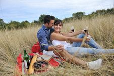 Free Happy Couple Enjoying Countryside Picnic Royalty Free Stock Images - 17030019