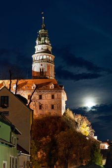 Free Castle Tower In Cesky Krumlov Royalty Free Stock Photography - 17030597