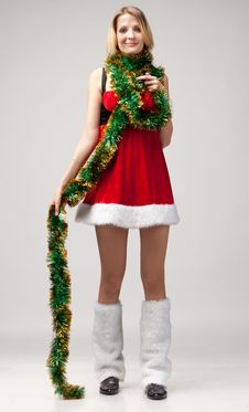 Free Christmas Girl Over Christmas Decoration Royalty Free Stock Photo - 17030785
