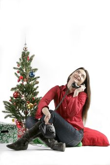 Free Santa Girl With Christmas Tree And Telephone Stock Photos - 17031033