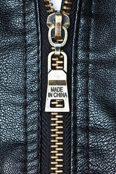 Zip On Leather Coat With Words  Made In China  Stock Photos