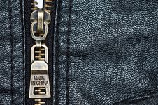 Zip On Leather Coat With Words  Made In China  Royalty Free Stock Photography