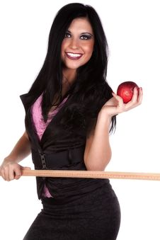 Free School Teacher With Stick And Apple Smiling Royalty Free Stock Photos - 17032858