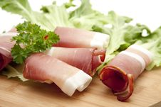 Raw Ham And Lettuce Leaves Royalty Free Stock Images