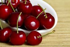 Free Red Cherries In White Spoon Royalty Free Stock Image - 17034716