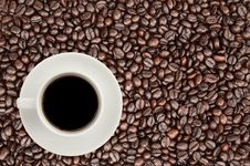 Free Coffee Cup On Coffee Bean Background Stock Photo - 17035200