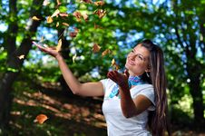 Free Autumn Girl Portrait Outdoors And Forest Stock Photography - 17035772