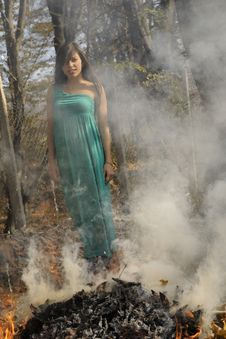 Free Woman Posing In Smoke Stock Photos - 17035833