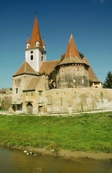 Fortified Church Of Cristian, Transylvania Stock Images