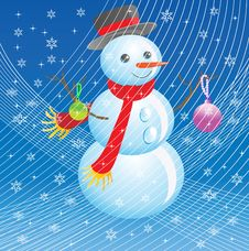 Free The Snowman In A New Year S Blizzard. Royalty Free Stock Photo - 17036885