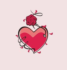 Free Heart And Rose Royalty Free Stock Images - 17037539