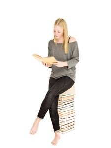 Free Young Girl On A Pile Of Books Stock Photo - 17037930