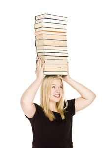 Woman With A Pile Of Books On Her Head Stock Photo
