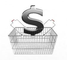 Free Shopping Basket And Dollar Sign Royalty Free Stock Images - 17037999