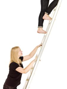 Free Women Climbing Up The Ladder Stock Photos - 17038113