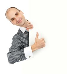 Free Businessman With Blank Board Stock Photography - 17039272