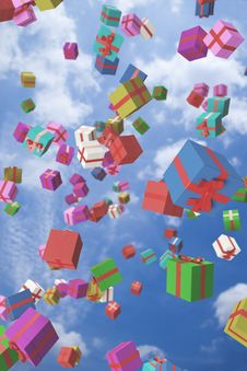 Free Lots Of Colorful Gift Boxes Flying In The Air Royalty Free Stock Photos - 17040908