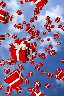 Free Lots Of Red Gift Boxes Flying In The Air Royalty Free Stock Photos - 17040948