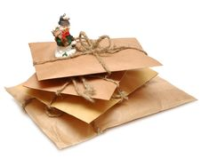 A Pile Of Parcels And Snowman Stock Photos