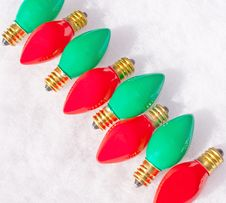 Diagonal Row Of Red And Green Light Bulbs Royalty Free Stock Photography