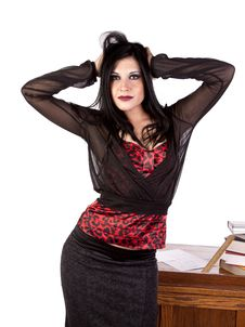 Free Teacher By Desk Hands In Hair Stock Photography - 17042282