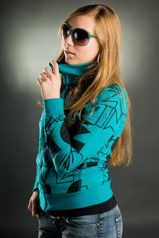 Portrait Of A Woman With Sunglasses Stock Photography