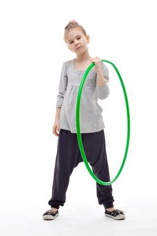 Free Sporty Llittle Girl With Hula Hoop Stock Photos - 17043023