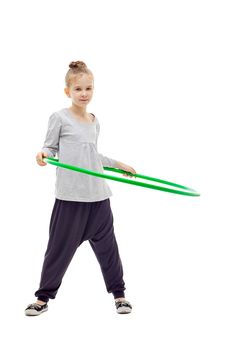 Free Sporty Llittle Girl With Hula Hoop Royalty Free Stock Images - 17043029
