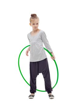 Free Sporty Llittle Girl With Hula Hoop Royalty Free Stock Photography - 17043037