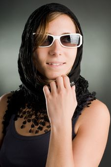 Portrait Of A Woman With Sunglasses Stock Photo
