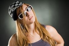 Free Woman With Sunglasses And Basecap Stock Photos - 17043253