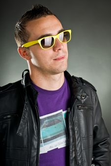Free Man With Yellow Sunglasses Royalty Free Stock Image - 17043326