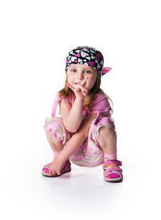 Free Little Girl In Bandana On White Background Stock Photos - 17043363