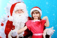 Free Girl And Santa Royalty Free Stock Photography - 17043547