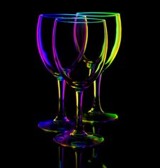 Free Three Empty Wine Glasses On Black Royalty Free Stock Photos - 17044328