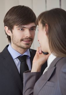 Romantic Relationship In Office Stock Photography