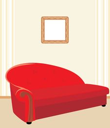 Red Stylish Sofa Stock Images