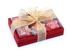 Red Wooden Box With Candles Stock Photo