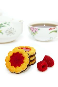 Jam Cookies And Tea Royalty Free Stock Photography